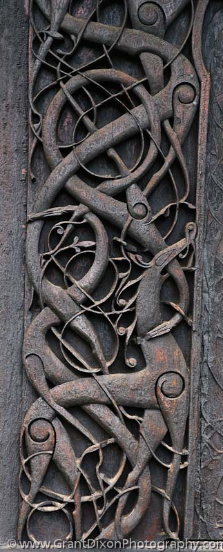 Stave church Urnes carving - image by Australian ...