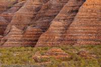 AUSTRALIA, Western Australia, East Kimberley, Purnululu National Park (Bungle Bungles).  Layered sandstone domes beside Piccanniny Creek, sunrise.