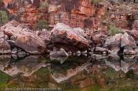AUSTRALIA, Western Australia, West Kimberley. Sandstone reflection, Charnley River.
