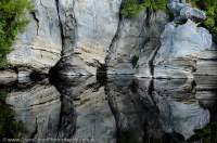 Limestone reflection, lower Franklin River, Franklin-Gordon Wild Rivers National Park.