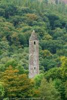 Round tower, Glendalough, built in 10th-11th century, County Wicklow, Ireland.
