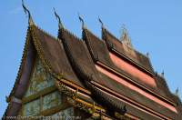 LAOS, Vientiane. Tiered roof of Wat Hai Sok.