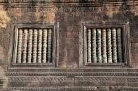 LAOS, Champasak. Window detail of middle level pavilion, Wat Phu, Khmer religious complex, built between 10th & 16th centuries.