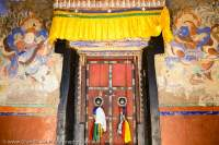 Old doorway at Matho Gompa, the only Sakya Buddhist monastery in the region; established in 15th century.