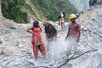Road works, Manaslu Circuit trek, Nepal
