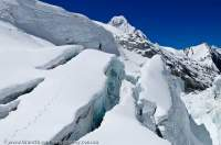 NEPAL. Crevasses on Nare Glacier, below Mingbo La, Sagamartha National Park.