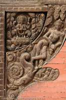 NEPAL. Bhaktapur, Kathmandu valley. Wood carvings decorating Vatsala Durga Temple, Durbar Square.
