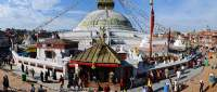 NEPAL, Kathmandu. Bodhnath, largest Buddhist stupa in Nepal, from roof of Tamang Gompa.