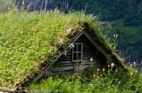 NORWAY, Northern fjords, Geirangerfjord. Skagefla abandoned mountain farm, with turf-roofed buildings. Geirangerfjord is part of the Unesco-listed Western Fjords World Heritage site.