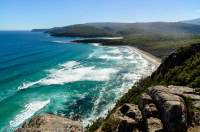 AUSTRALIA, Tasmania, Southwest National Park. South Cape Bay, South Coast Track.