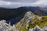 AUSTRALIA, Tasmania, Lake Curly, Franklin-Gordon Wild Rivers National Park, Tasmanian Wilderness World Heritage Area.